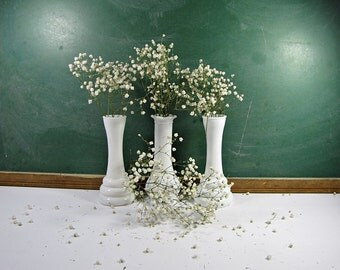 Vintage MILKGLASS VASES Set/3 WEDDING Short Milk Glass Bud Vase Randall