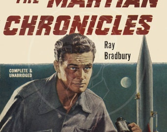 The Martian Chronicles - 10x15 Giclée Canvas Print of a Vintage Pulp Science Fiction Paperback Cover