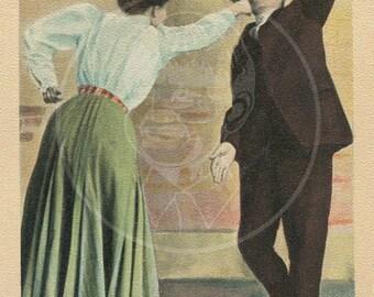 A Striking Beauty - 10x15 Giclée Canvas Print of a Vintage Postcard