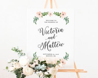 Romantic Vines Wedding Day Large Display Sign