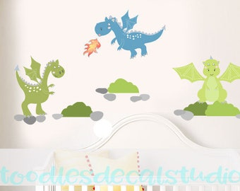 Dragon Wall Decal for Boys Nursery, Medieval Wall Art, Dragon Fabric Wall Decal Stickers, Dragon Decals for Baby, Reusable Stickers