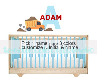 Construction Wall Decal - Truck Reusable Fabric Decal - Name Decals for Kids - Boys Truck Themed Nursery - Construction Wall Decor