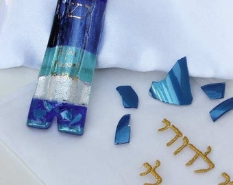 Jewish wedding mezuzah case with wedding glass shards, date and initials, gold painted shin or chai, fused glass, custom