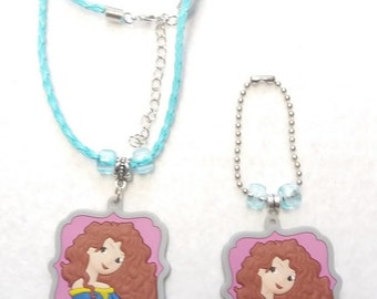 Princess Merida Set of Necklace  and Zipper Pull