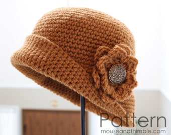 Quick & Easy Crochet PATTERN - Tupelo Flower Hat (for all 5 sizes) - Printable Download PDF 1623