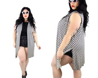 Plus Size 1970's Checkered Open Vest - Size 1X