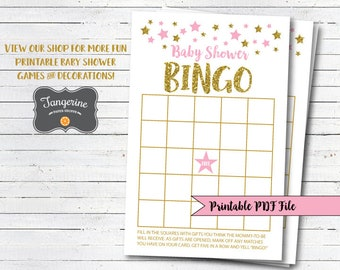 Twinkle Twinkle Little Star Baby Shower Games - Pink and Gold Baby Shower - Baby Shower Bingo - Printable PDF Files - Instant Download