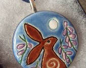 Ceramic Pottery Moongazing Hare and Heather Pendant Necklace, Hare Animal Totem, Animal Jewellery, Voice of the Moor, Goddess Jewellery