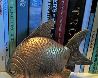 Vintage Brass Fish Figurine Beach Decor Nautical Decor Coastal Decor Fish Nursery Decor Brass Paperweight Seaside Decor