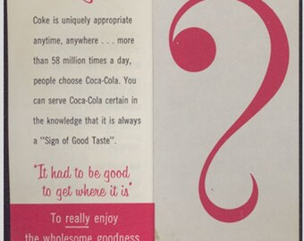 Coca Cola Why pamphlet advertising Cokes superior quality vintage 1959
