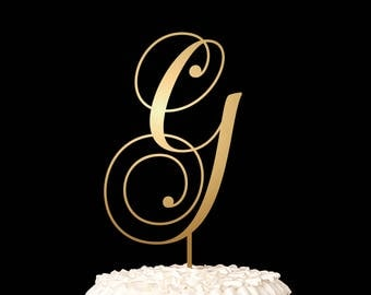 Single Letter Monogram Wedding Cake Topper with your Initial - Confetti Collection