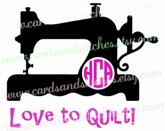Quilt Vinyl Decal - Sewing Machine Decal - Love to Quilt Decal - Yeti Decal - Vinyl Decal OR Iron-on Transfer - DIY Iron-on Transfer