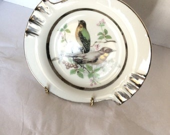 1950's Porcelain Ashtray Yellow Breasted Birds