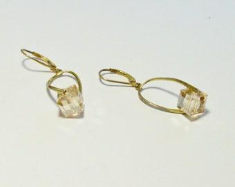 SALE Vintage Sterling Silver Vermeil Glass Cube Pierced Dangle Style Swirl Modern Earrings