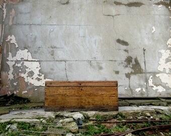 Large Antique 1800s Rustic Wooden Carpenter's Chest with Original Handles