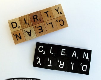 Dishwasher CLEAN/DIRTY Magnet - Handcrafted from Scrabble Tiles - Your Choice of Black or Woodgrain