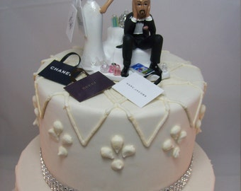 african american wedding cake toppers humorous no golf with cart and groom wedding cake topper 10601