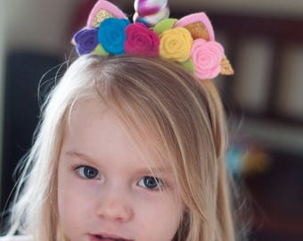 Magical Unicorn Headband in Rainbow with Wool Felt Flowers Free Shipping