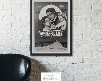 IT'S A WONDERFUL LIFE - Classic Film Style Poster - Jimmy Stewart - Holiday Print - Christmas Movie Poster - Original Art Poster / Print