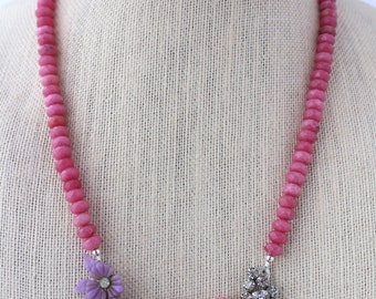 Pink Necklace, Purple Necklace, Flower Necklace, Assemblage Jewelry, Recycled Jewelry, Upcycled Jewelry, Recycled Jewelry,Statement Necklace