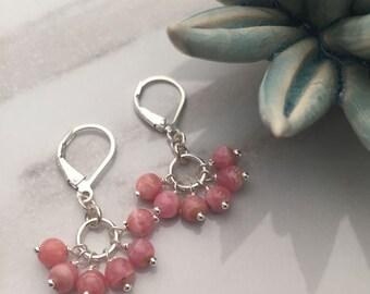 Rhodochrosite Stone - Sterling Silver Earrings