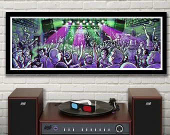 "GENERAL ADMISSION 3D Panoramic Concert Poster with red/blue Glasses - 11.75x36"" - Signed Limited Edition Art Print"