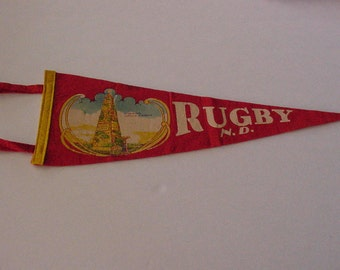 1940's RUGBY N.D. Geographical Center of America Pennant Banner Travel Souvenir Wall Hanging Flag