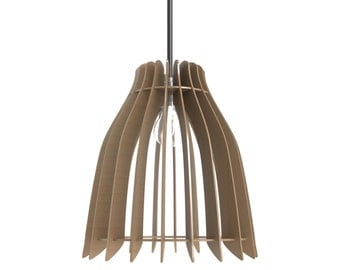 Laser cut design traditional lampshade shape pendant lamp, handmade wood or colour perspex acrylic by choice
