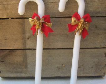 White Plastic Candy Canes with Angels, Christmas Decor, Vintage Decoration, Holiday Ornament, Retro Decor, Gold Angel, Red Bow, Set of TWO