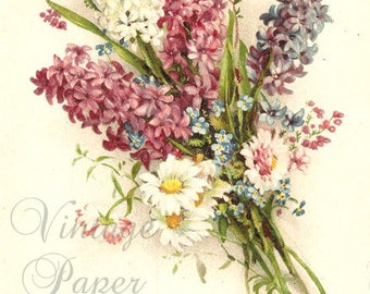 Hyacinths & Daisies Antique French Postcard, Chromolithograph Flower Bouquet Post Card from Vintage Paper Attic