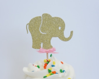 Set of 12 Fine Gold Glitter Elephant Cupcake Toppers With Pink Bow Girl Baby Shower