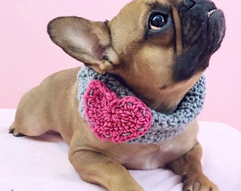 Crochet Dog Cowl Grey with Hot Pink Heart Made to Order