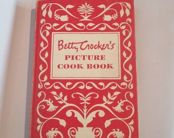 Betty Crocker's Picture Cook Book, Vintage 1950 Mid Century Cooking Food Information How To 449 pages Retro Kitchen Dining Serving