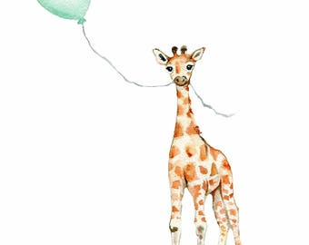 Mint nursery, giraffe prints, gender neutral nursery,  baby nursery decor, mint kids room, child's illustration, baby room art, kids art