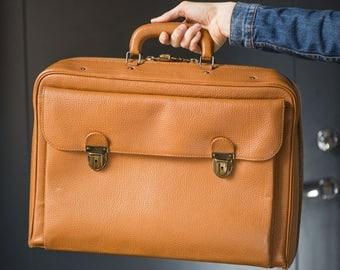 Tangerine weekend bag, retro orange luggage, monochrome train luggage, suitcase 50s genuine leather luggage, traveller luggage overnight bag