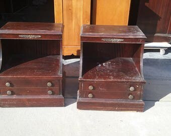Pair Vintage French Night stands, shabby chic night tables, PICK UP ONLY painting inc, empire painted bedroom, hollywood regency, federal