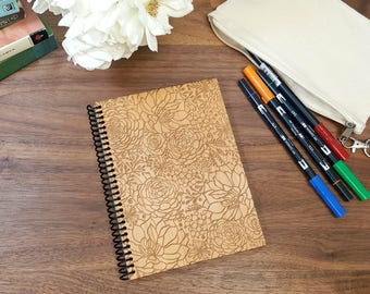 Wood Notebook - Succulents on Laser Engraved Wood - Lined or Blank Pages