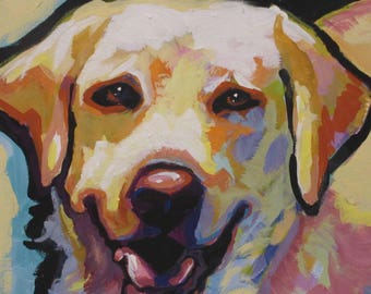 "Labrador Retriever modern Dog art print of YELLOW LAB pop art painting bright colors 12x12"""