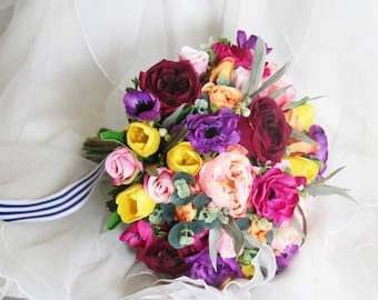 Colourful Wedding Bouquet, Silk Flower Bouquet, Hand Tied Bouquet, Peonies, Roses, Tulips, Anemones
