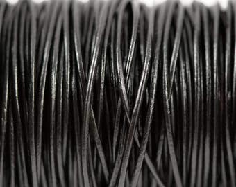 1mm Black Leather Round Cord - Subtle Shine