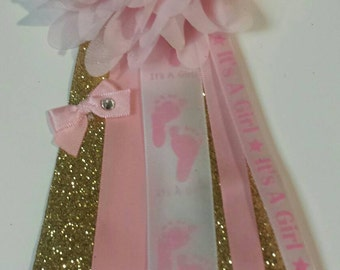 Mommy to be Pink and Gold Princess baby shower Corsage mum Favor pin Custom made to match theme