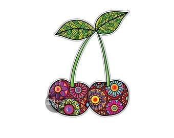 Cherry Sticker Colorful Floral Car Decal Laptop Decal Wall Art Food Cherries Fruit Art Yeti Decal Cute Car Sticker Vinyl Vegan Sticker