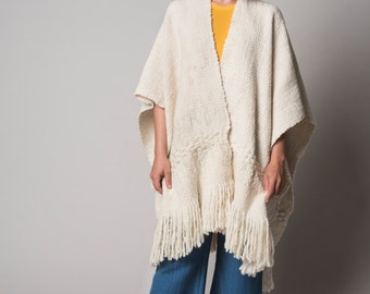 Oversized Tunic Blanket Poncho, sweater Wrap, Outerwear wool Cape Coat, Holidays gift, Poncho handwoven in merino wool