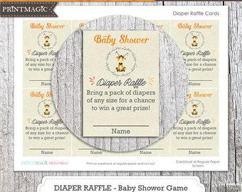 Baby Moose Diaper Raffle Baby Shower Game - Instant Download - Woodland Diaper Raffle Game - Shower Diaper Raffle - Baby Shower Activity