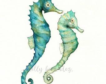Wall Art, Beach Art, Seahorse painting, Seahorse Love, watercolor print, ocean life, watercolor ocean, Ocean painting