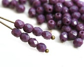 4mm Purple glass beads, Opaque Purple czech Fire polished spacers, round beads - 50Pc - 1716