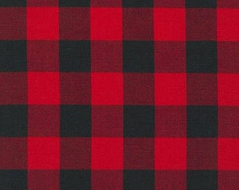 Curtain Panels or Valance - Red black buffalo check