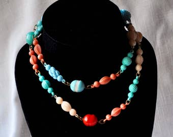 Vintage Necklace with Cellulose Acetate Celluloid Beads
