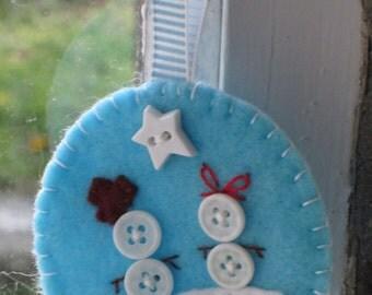 Button Snowman Felt Decoration (1)