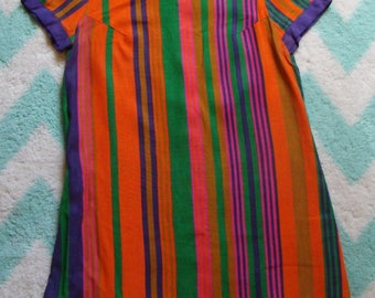 BRIGHT STRIPED TUNIC mod purple orange P xs S
